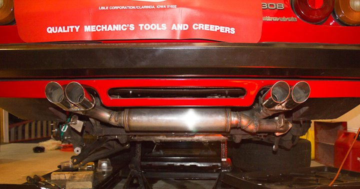 Finished Ferrari 308 exhaust in place