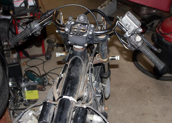 clubman handlebars installed on the honda cx500