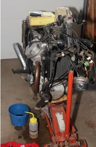 Honda CX500 with front suspension removed