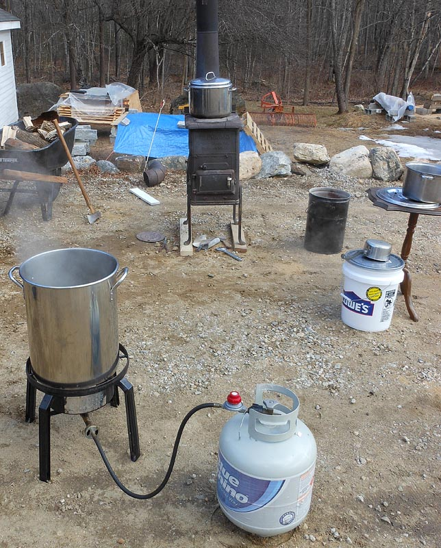 Maple Syrup sugaring on a wood stove