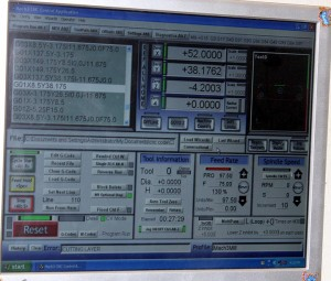 CNC machine software controlling the milling of a part