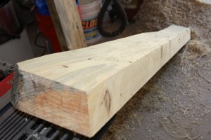 Sawhorse top board milled with 15 degree angles