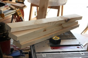 sawhorse legs with 15 degree mitre cuts top and bottom