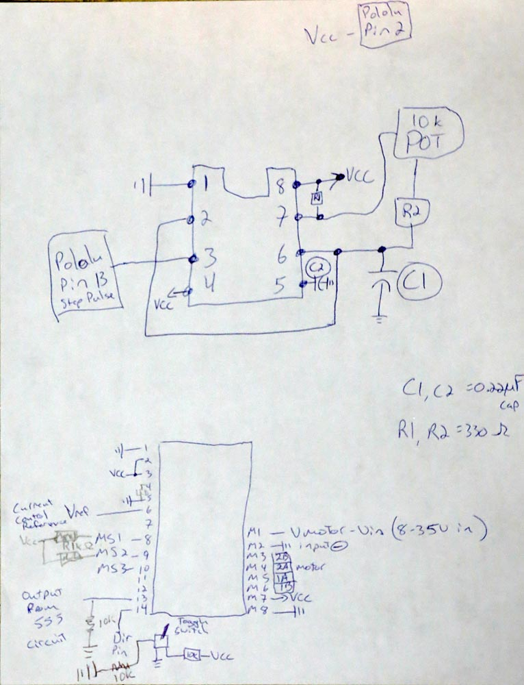 Circuit to drive a pololu a4988 with a 555 timer