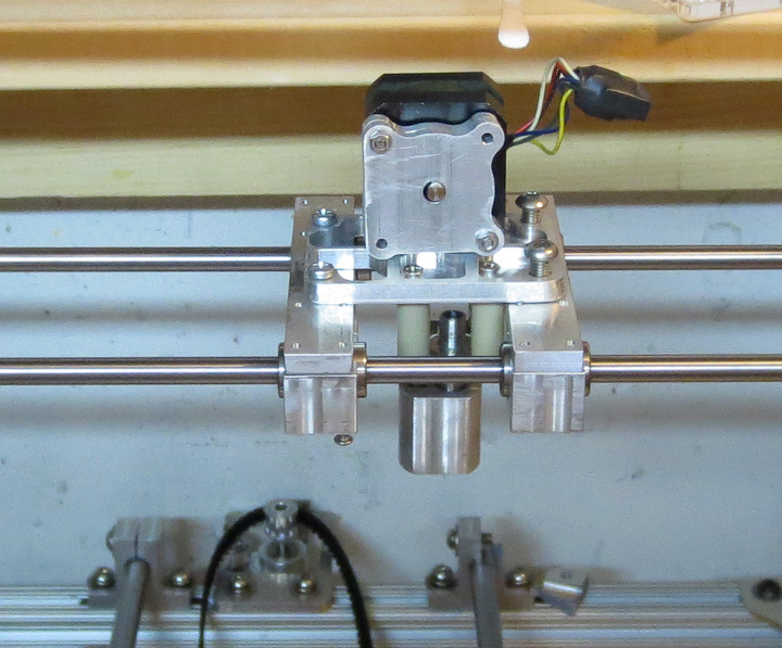 3d printer x axis with plastic extruder head mounted