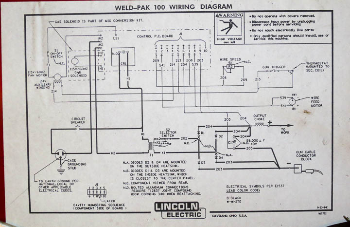 081314 Lincoln Weld Pak 100 Repair 0626 diode replacement on lincoln weld pak 100 welder repair Welder Circuit Diagram at gsmx.co