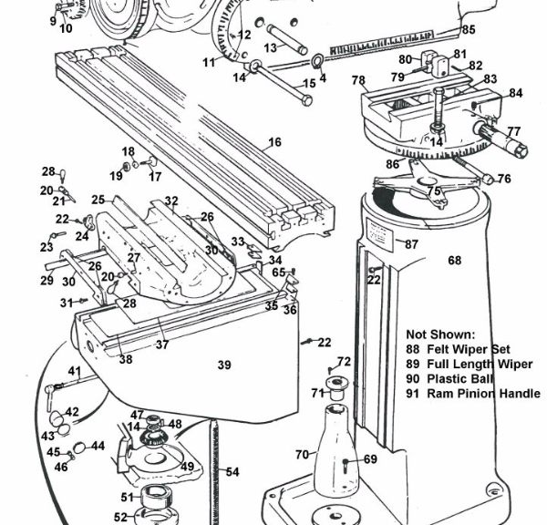 Expanded parts diagram Bridgeport Mill Series I