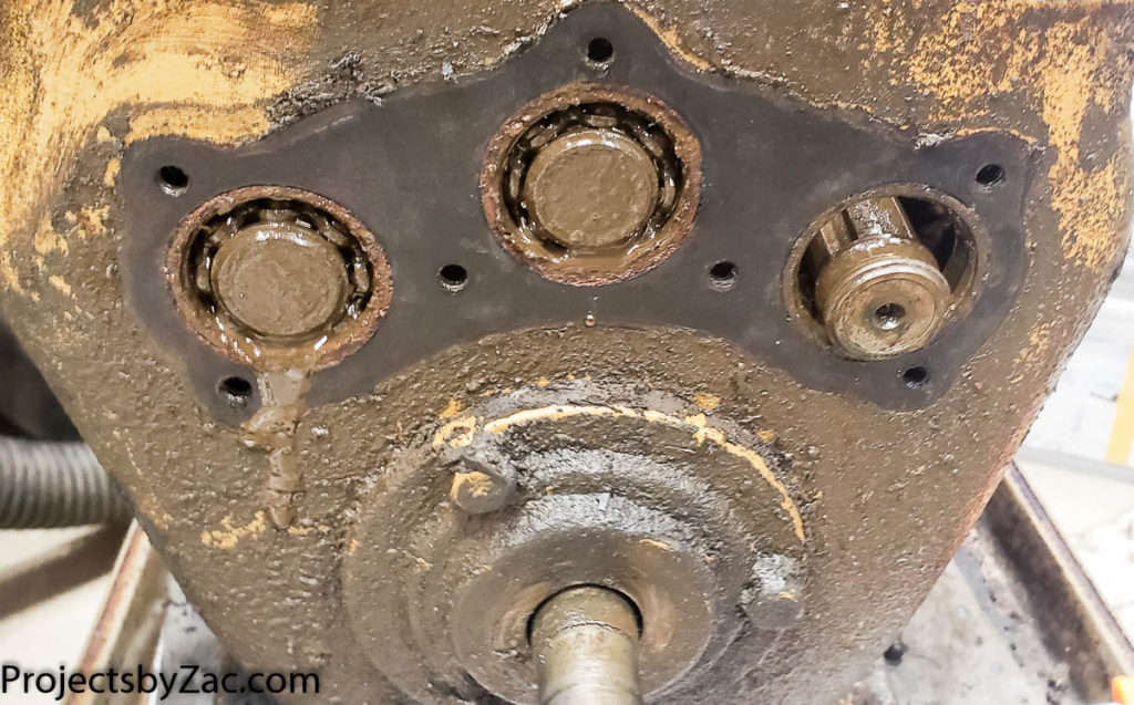 destroyed bearing in 3 speed transmission input shaft